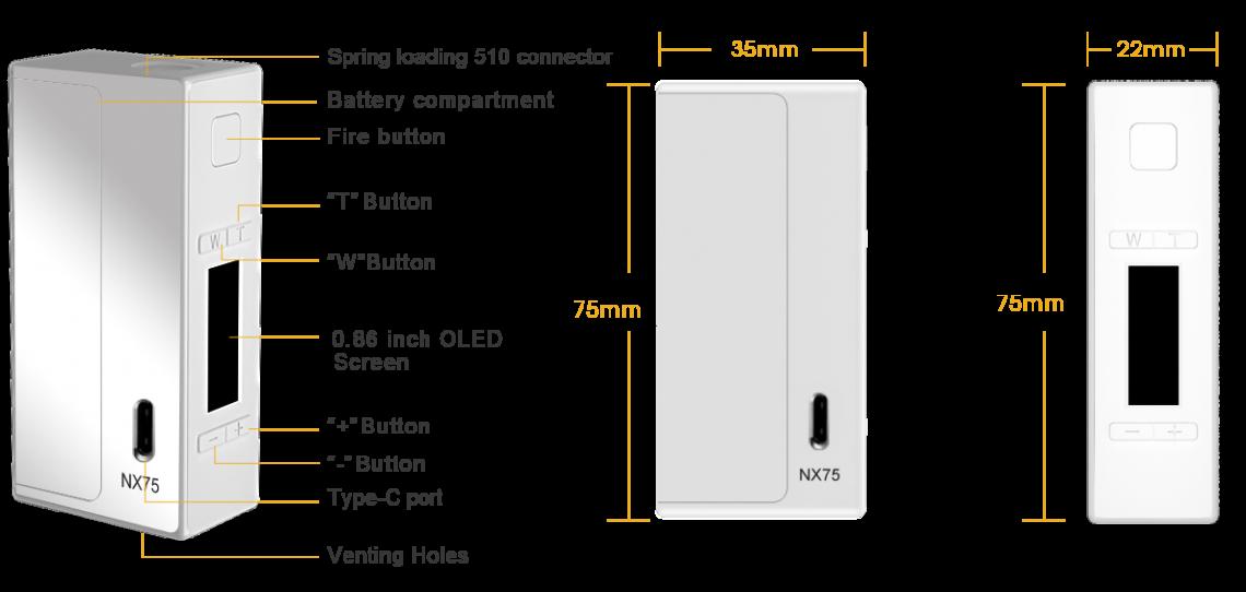 NX75 MOD Dimensions
