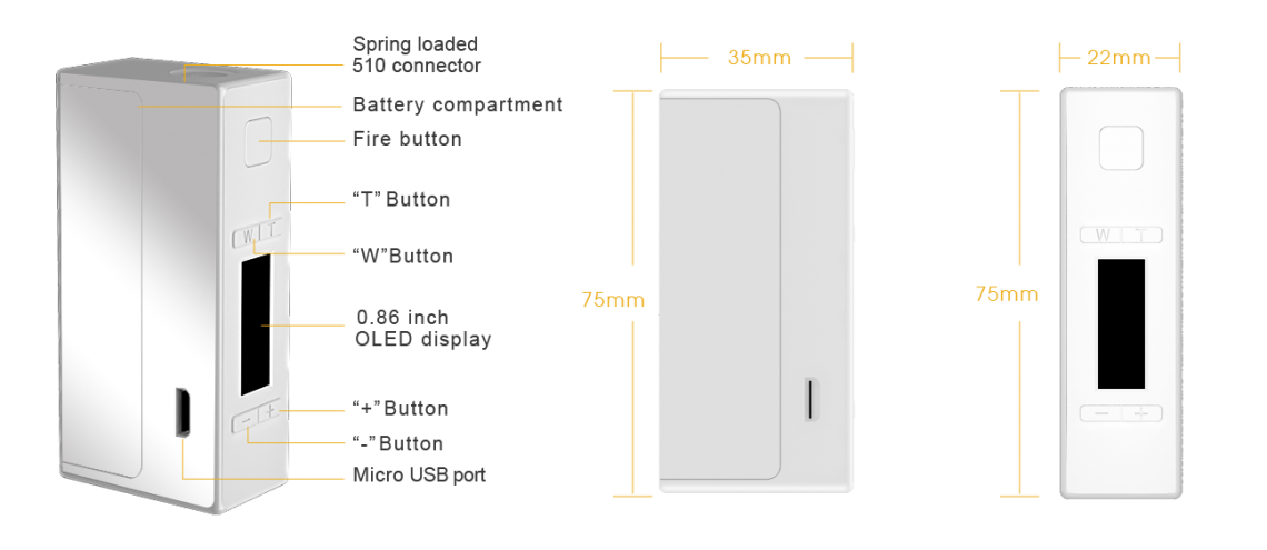 NX75 MOD Dimensions scheme