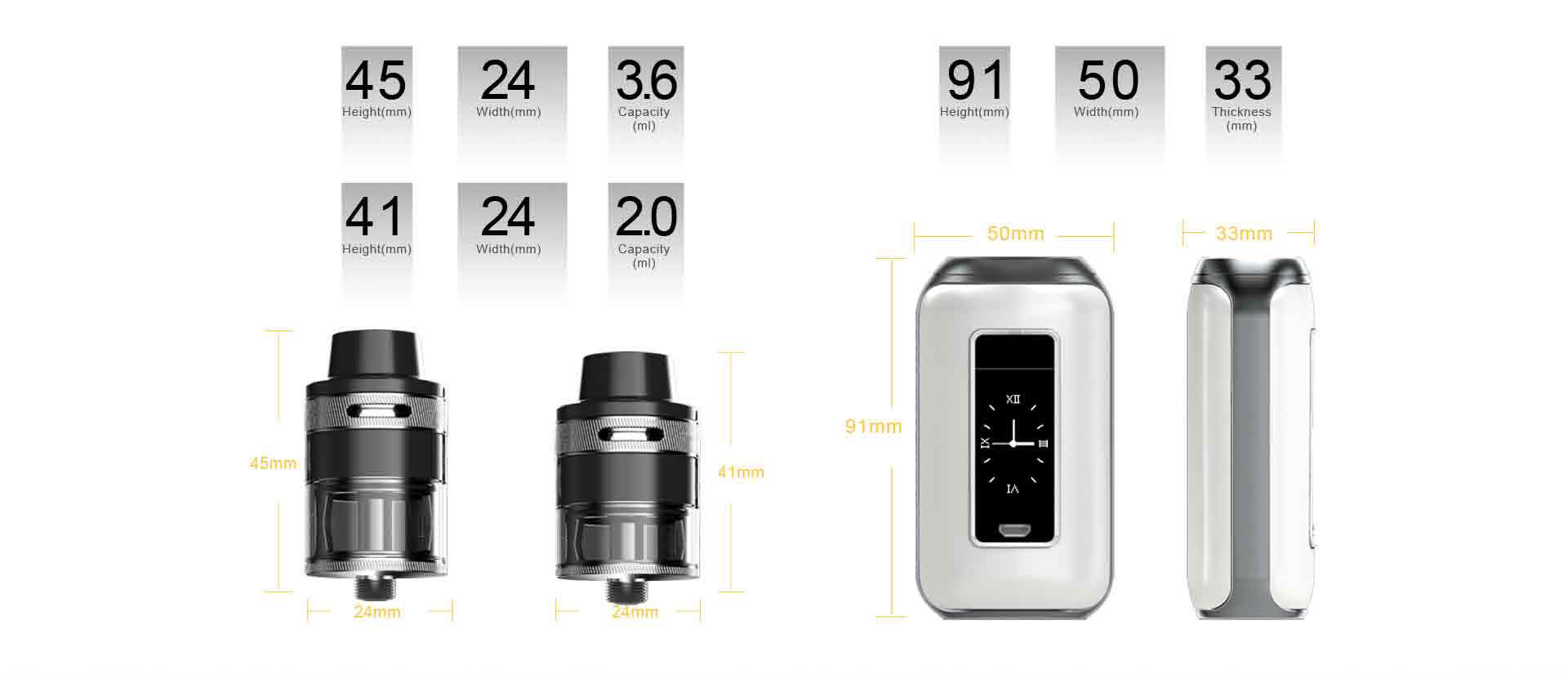 Aspire SkyStar Revvo Kit Dimensions and Specifications